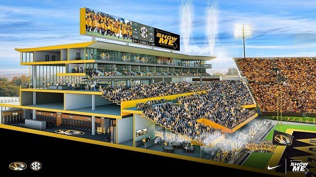South End Zone Facility Project plans to expand Memorial Stadium. (Credit: University of Missouri)