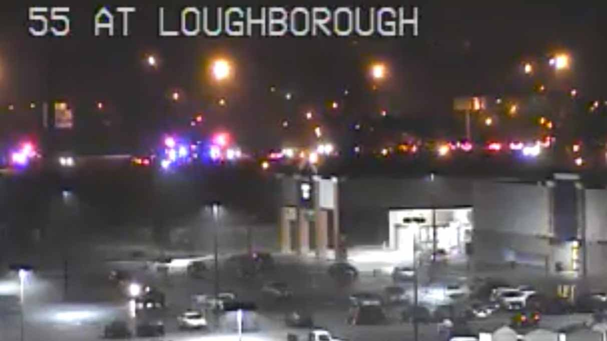 A firefighter was hit by a car at I-55 and Lougboroough Friday night. Credit: MoDOT