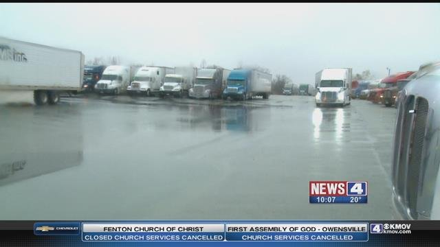 Icy road conditions forced many truck drivers and other motorists to spend the night Friday in their cars and trucks. Credit: KMOV