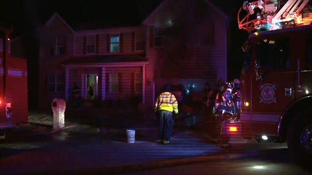 Fire crews in the 1600 block of Emerald Creek Court Monday morning (Credit: KMOV)