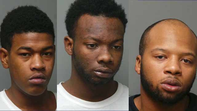Timothy Glenn (left), Traveion Latchison (middle), and Dajuon Dickens (right) are all facing first degree burglary charges following Olivette burglaries. (Credit: Olivette Police Department)