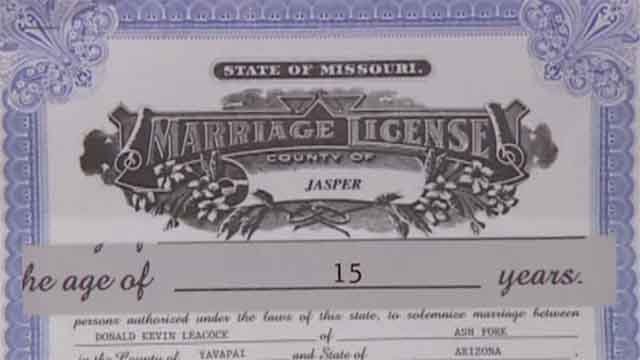 In Missouri it is legal for teens as young as 15 to get married if their parents give permission. Credit: KMOV