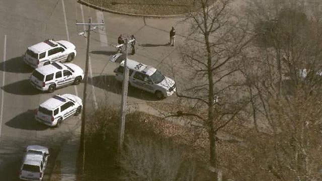 Police vehicles outside the Fox Hills Apartments in St. Charles Thursday (Credit: KMOV)
