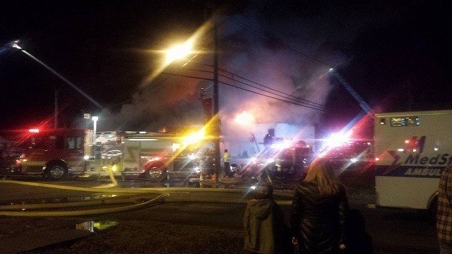 Flames were through the roof in Marissa, illinois store. (Credit: Timothy Hedrick)