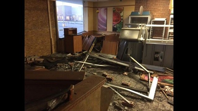 The smashed Subway store after a truck plowed through the front door. (Credit: Adam Gabriel, store owner)