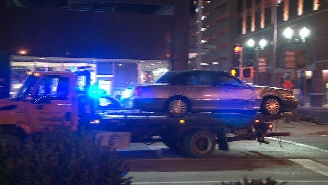 A car crashed into a building in the 500 block of North Broadway on December 28 (KMOV)