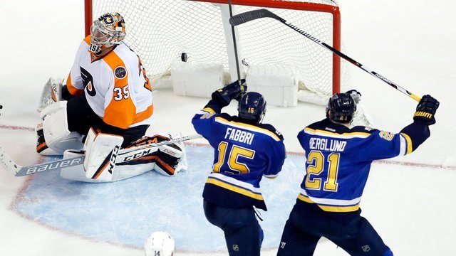 St. Louis Blues' Robby Fabbri celebrates along side teammate Patrik Berglund after scoring past Philadelphia Flyers goalie Steve Mason during the third period of an NHL hockey game Wednesday, Dec. 28, 2016, in St. Louis. (AP Photo/Jeff Roberson)