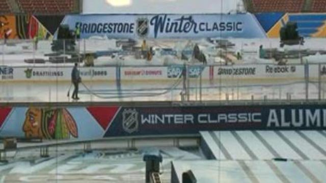 Winter Classic preparations at Busch Stadium (Credit: KMOV)
