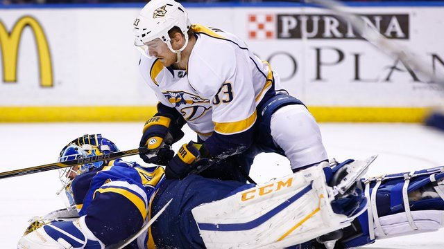 Nashville Predators' Colin Wilson falls onto St. Louis Blues goalie Carter Hutton during the third period of an NHL hockey game Friday, Dec. 30, 2016, in St. Louis. The Predators won 4-0. (AP Photo/Billy Hurst)