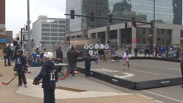 Kids take part in a street hockey tournament downtown. (Credit: KMOV).