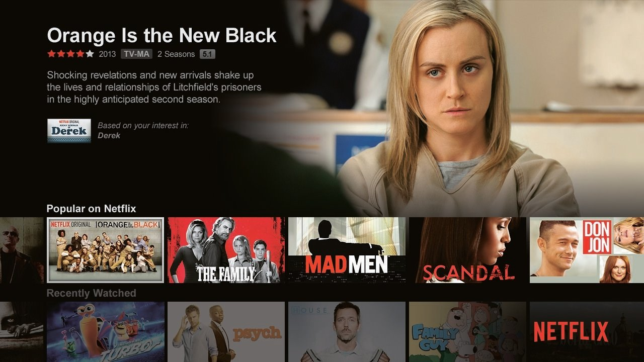 The user interface for the on-demand video streaming service Netflix show full screen from a web browser. (Credit: Netflix)