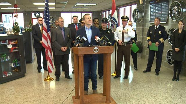 Governor-elect Eric Greitens announced members of his public safety team (Credit: KMOV)