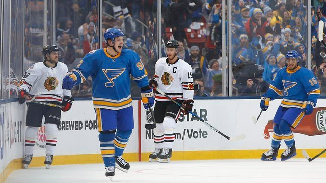 St. Louis Blues' Vladimir Tarasenko celebrates after scoring a goal during the third period of the Winter Classic hockey game at Busch Stadium, Monday, Jan. 2, 2017, in St. Louis. (AP Photo/Billy Hurst)