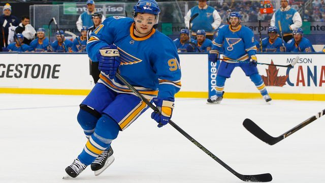 Support for the Blues' Winter Classic sweaters was overwhelming, so they're not going away just yet. (AP Photo/Billy Hurst)