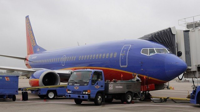 A Southwest Airlines jet is seen at Lambert St. Louis International Airport Wednesday, Oct. 28, 2009, in St. Louis. (AP Photo/Jeff Roberson)