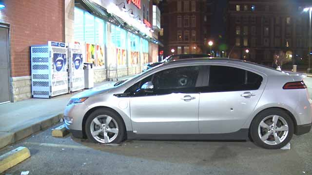 The car of a woman who said another driver fired shots at her when she honked. Credit: KMOV
