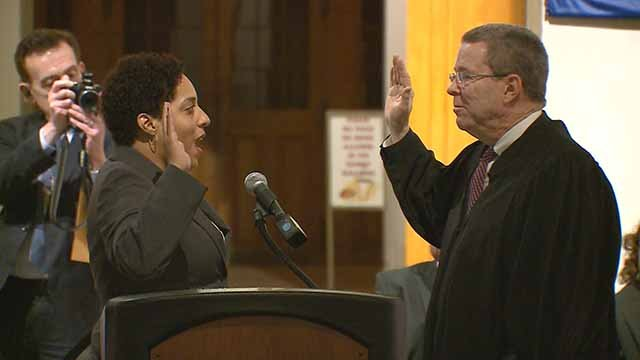 It was a historic night in the City of St. Louis Friday as Kim Gardner was sworn in as the city's first African American circuit attorney.. Credit: KMOV