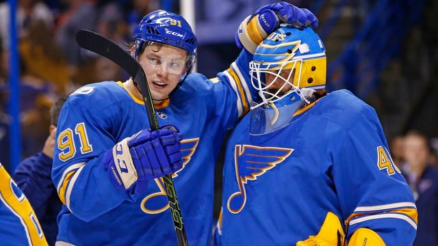 St. Louis Blues' Vladimir Tarasenko (who scored his team-leading 20th goal in the game) congratulates goalie Carter Hutton after the Blues defeat the Stars 4-3 in an NHL hockey game Saturday, Jan. 7, 2017, in St. Louis. (AP Photo/Billy Hurst)