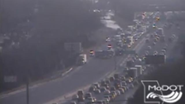 The westbound lanes of Interstate 44 closed near Kingsighway following a crash Monday (Credit: KMOV)