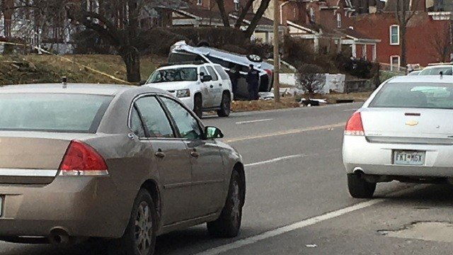 A vehicle flipped over at the scene of an officer-involved shooting Monday afternoon in north St. Louis (Brian Feldman, KMOV)