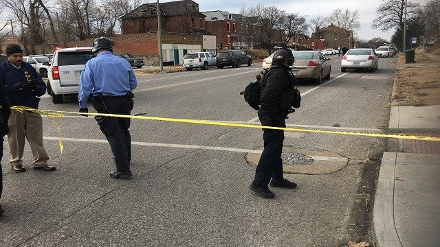 Police on scene of an officer-involved shooting in north St. Louis Monday (Brian Feldman, KMOV)
