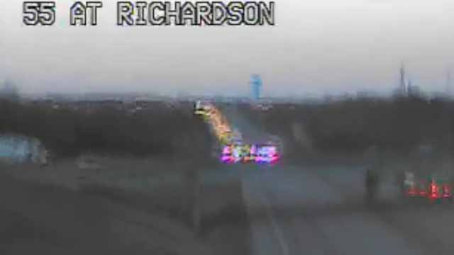 All lanes of SB I-55 are closed near Richardson Road in Arnold due to a wreck. Credit: MoDOT