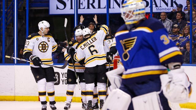 Boston Bruins' Brad Marchand is congratulated by teammates after scoring a goal against St. Louis Blues goalie Jake Allen during the first period of an NHL hockey game Tuesday, Jan. 10, 2017, in St. Louis. (AP Photo/Billy Hurst)