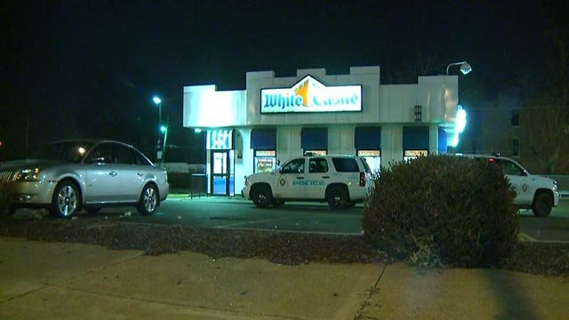 Police at the White Castle on 20th and North Florissant after a woman was stabbed (Credit: KMOV)