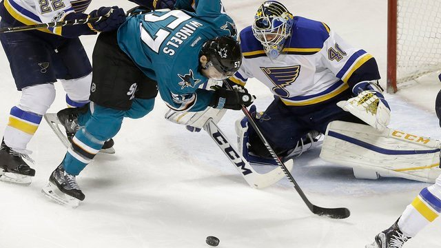 St. Louis Blues goalie Carter Hutton (40) defends a shot by San Jose Sharks center Tommy Wingels (57) during the third period of an NHL hockey game in San Jose, Calif., Saturday, Jan. 14, 2017. The Blues won 4-0. (AP Photo/Jeff Chiu)