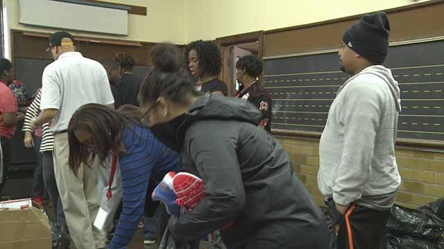 The Baden Enrichment Stem Center gave free shoesto kids on MLK Day. Credit: KMOV