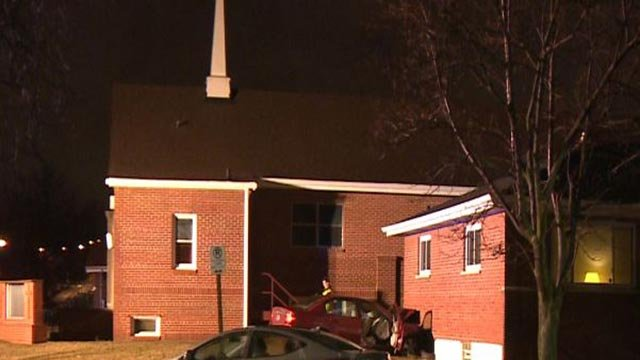 A car crashed into the Gateway Southern Baptist Church in South City Monday (Credit: KMOV)