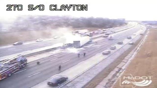 Semi-truck fire on SB I-270 near Clayton (Credit: MoDOT)