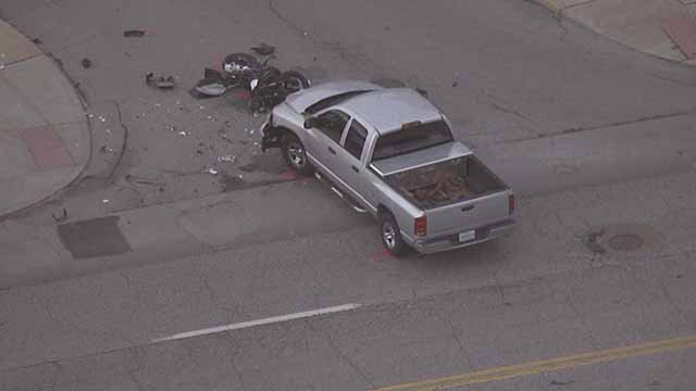 A motorcyclist died in a crash involving a truck on Gravois in South City Wednesday. Credit: KMOV
