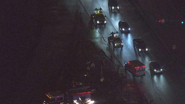 Emergency vehicles in Sauget after a crash on Route 3 (Credit: KMOV)