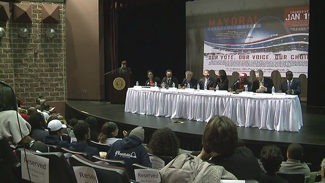 Eight  candidates for mayor faced off at Harris Stowe University Thursday. Credit: KMOV