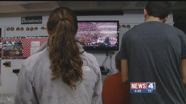 Students at Parkway South Middle watching Donald Trump's Inauguration. Credit: KMOV