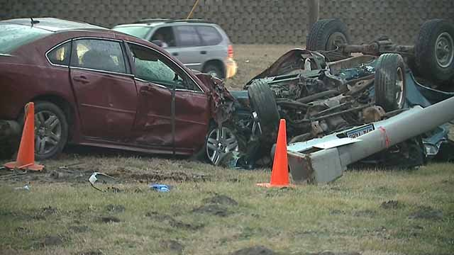 A 12-year-old girl and 32-year-old woman were ejected from a car and killed near East St. Louis Friday. Credit: KMOV