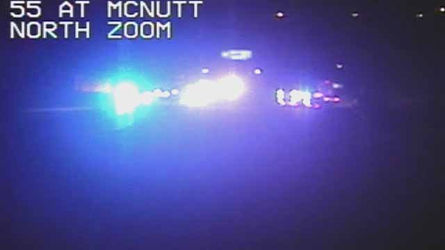 A wreck has closed all SB lanes of I-55 near McNutt. Credit: MoDOT