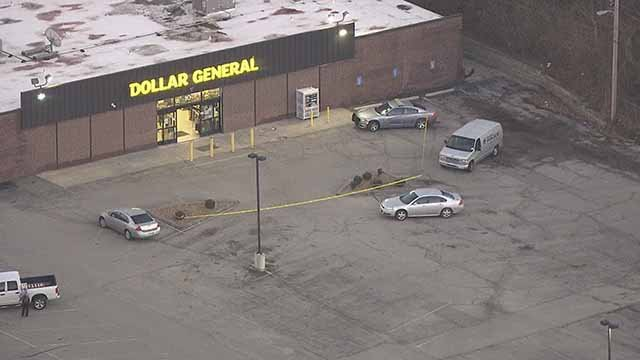 The robbery of this Dollar General prompted the lockdown of  2 schools in Maryland Heights Tuesday. Credit: KMOV