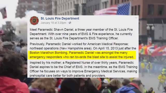 Claims that Shawn Daniel, a paramedic, was at the Boston Marathon bombing in 2013 are being called into question. Credit: KMOV