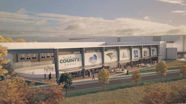 A proposed hockey complex in Creve Coeur Park would be a new practice facility for the Blues (Credit: KMOV)