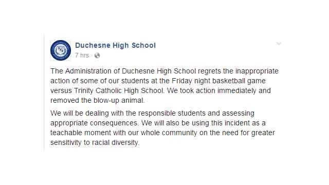 Duchesne High School released a statement on their Facebook page about the alleged incident. (Credit: KMOV)