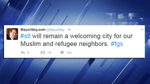 Mayor Slay sends a series of tweets in response to President Trump's executive order to temporarily ban immigration. (Credit: Mayor Francis Slay)
