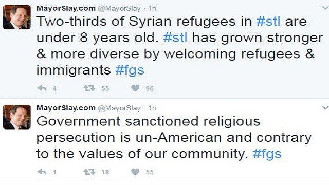 Mayor Slay went to Twitter Sunday in response to President Trump's executive order. (Credit: Mayor Francis Slay)