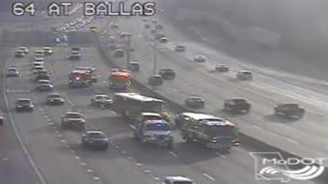 A school bus was involved in a crash on WB I-64 near Ballas Monday morning (Credit: KMOV)