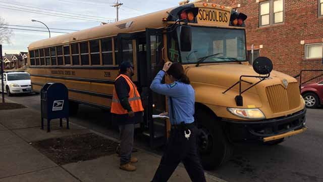 Shots hit a school bus in north St. Louis Monday afternoon. Credit: KMOV