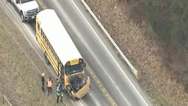 A school bus sustained damage in a crash in St. Charles County (Credit: KMOV)