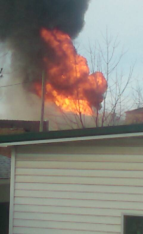 Fire on main street in White Hall (Credit: Liz Thien / Facebook)