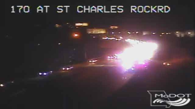 All lanes of SB I-170 are closed at St. Charles Rock Road due to a wreck. Credit: MoDOT