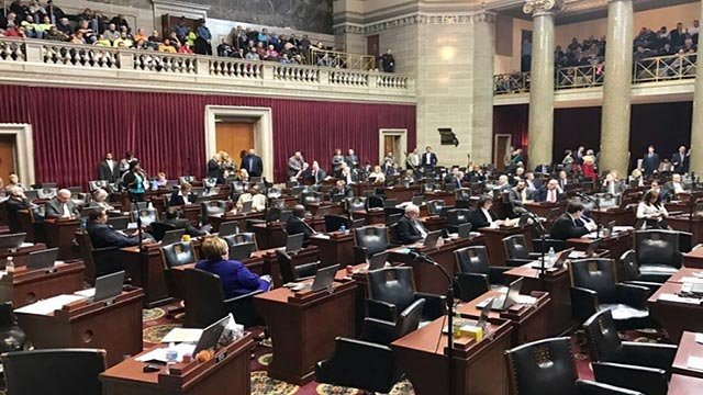 Lawmakers after right-to-bill vote (Credit: Ray Preston)